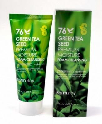 Пенка очищающая с семенами зеленого чая FARMSTAY Green tea seed premium moisture foam cleansing 100 мл: фото