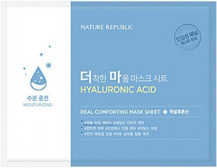 Маска тканевая для чувствительной кожи NATURE REPUBLIC REAL COMFORTING MASK SHEET [HYALURONIC ACID] 24гр: фото
