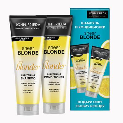 Набор Сила Блонда John Frieda Sheer Blonde: шампунь Go Blonder 250 мл + кондиционер Go Blonder 250 мл: фото