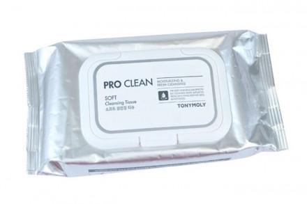 Очищающие салфетки для снятия макияжа TONY MOLY PRO CLEAN SOFT Cleansing Tissue 280г: фото